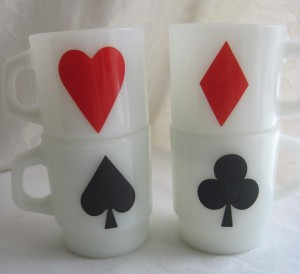 anchor hocking card suit mugs