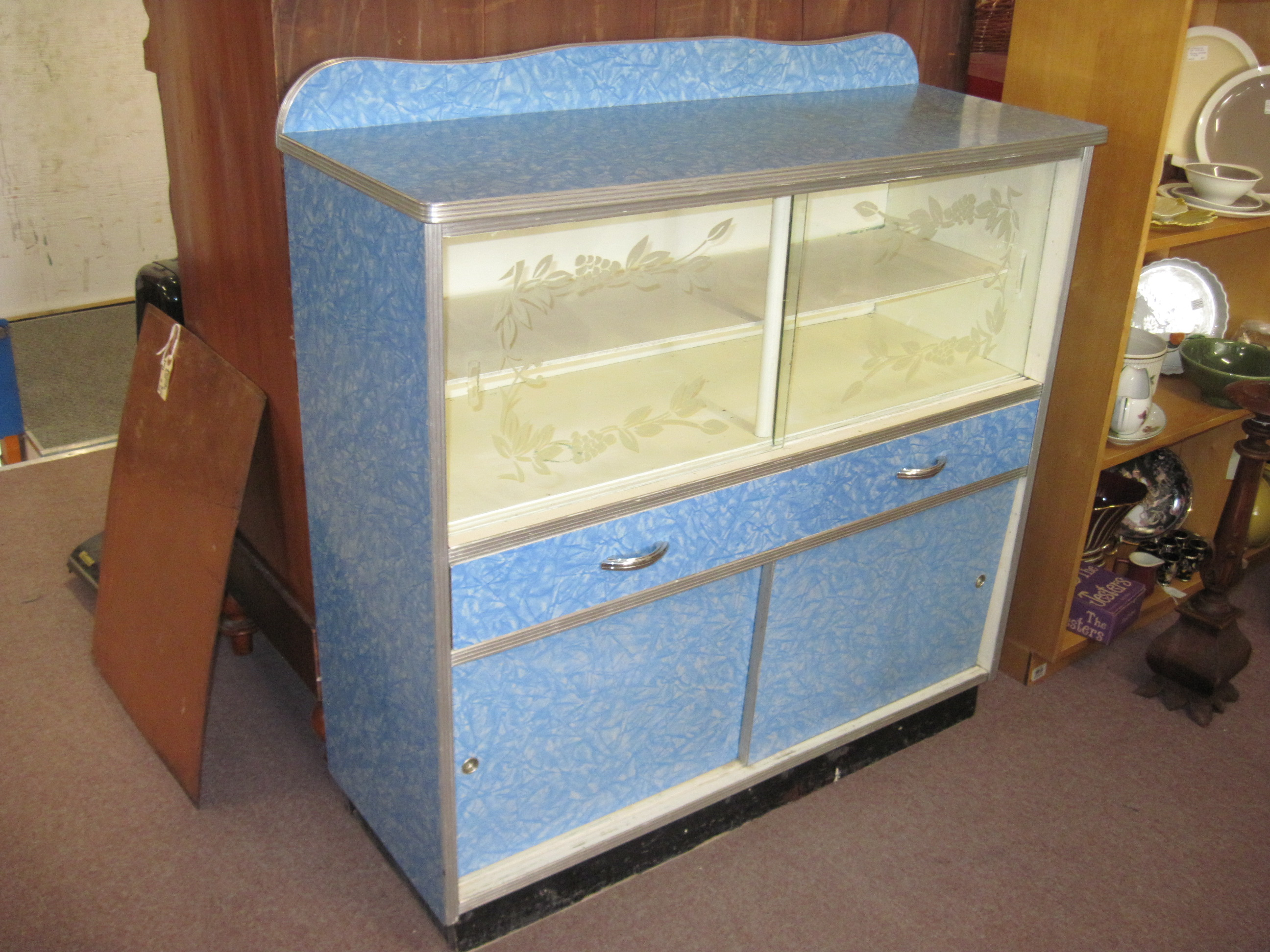 Mid Century Blue Cracked Ice Formica Buffet