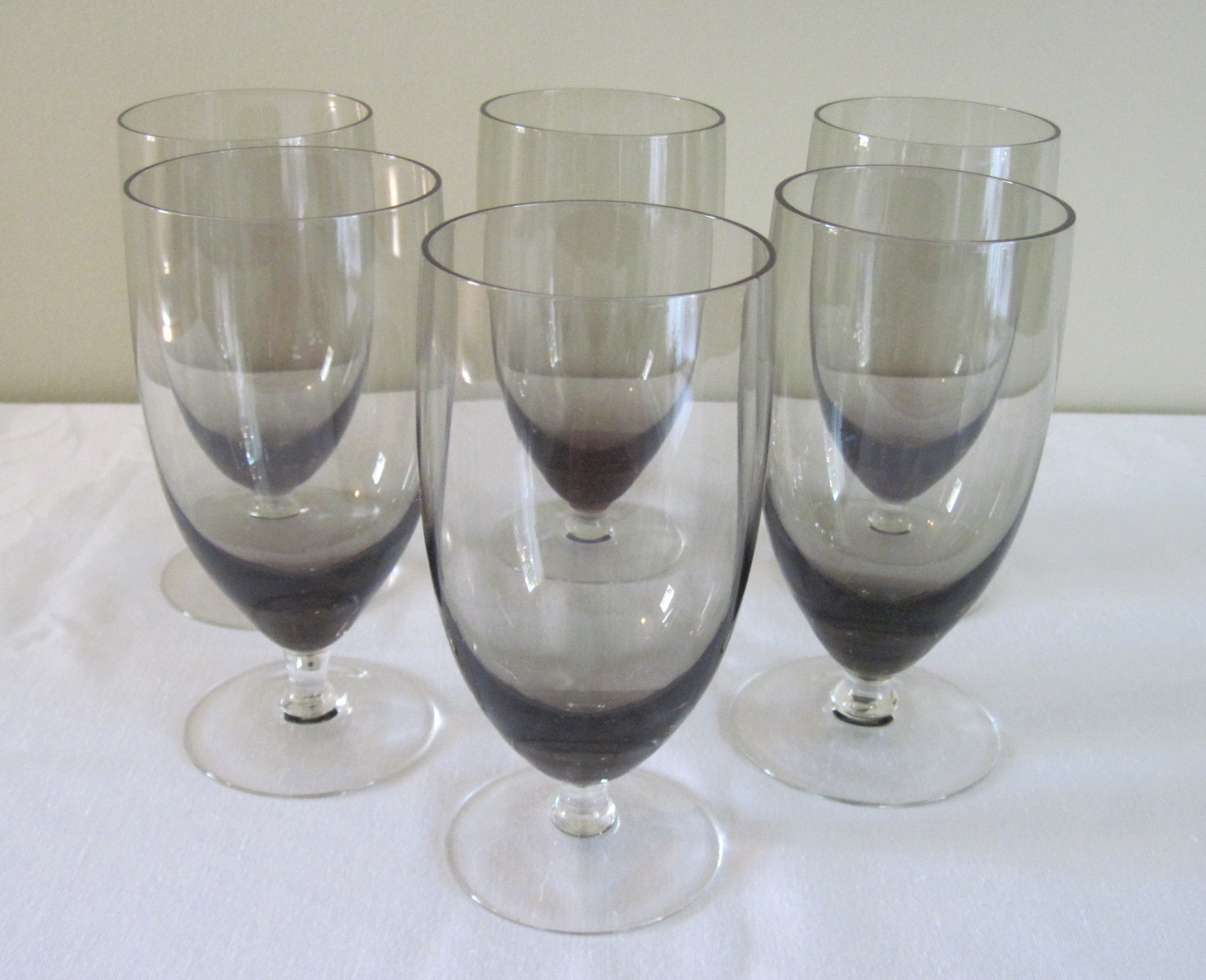 set of 6 large smoked glass water goblets these look mid century to me smoked glass was very popular back in the 60u0027s and 70u0027s hard to find these days - Water Goblets