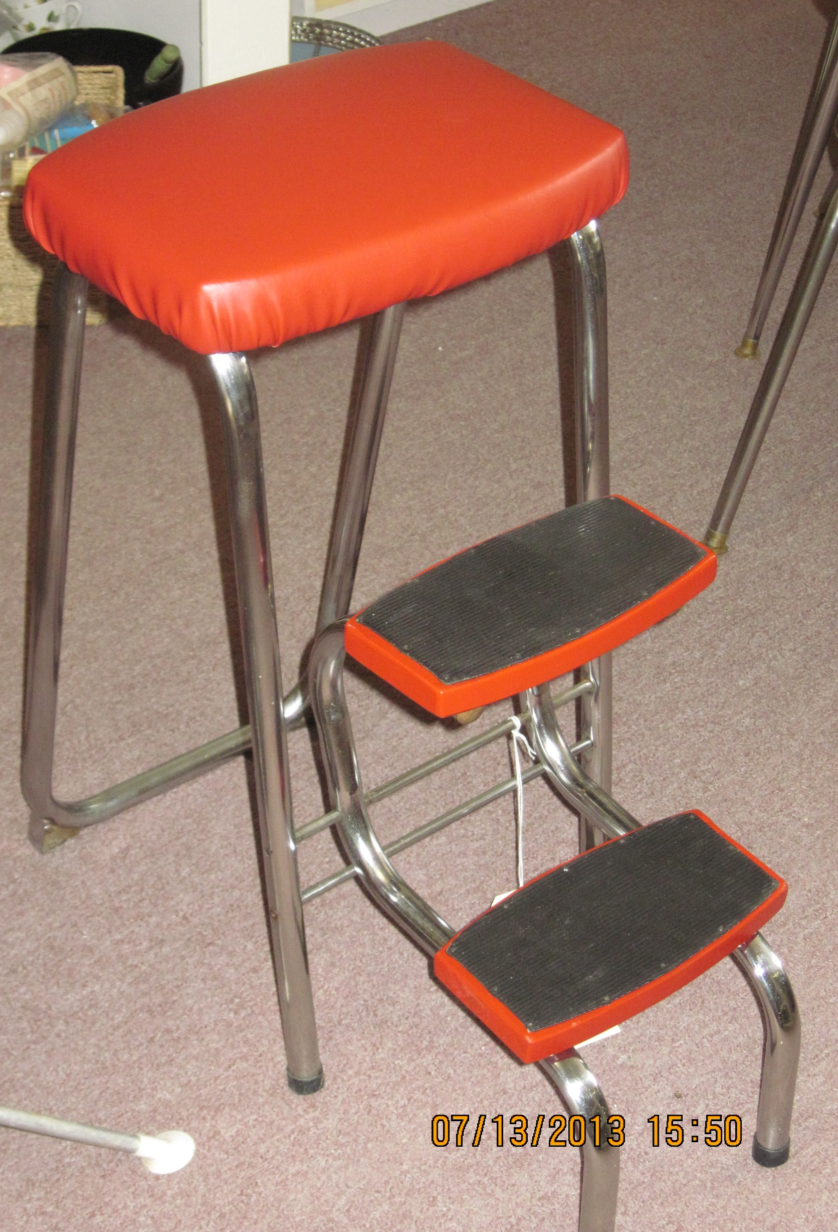 Retro Chrome Step Stool with Red Vinyl Upholstery