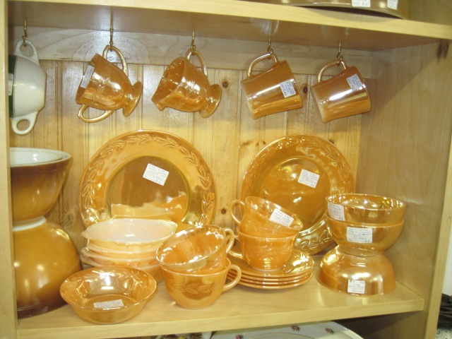 1951-60 Fireking Fire King Copper Tint Lusterware Peach Lustre Ware Three Bands  Tea  Flat Cups and Saucers Great Cond Set of 3 Three