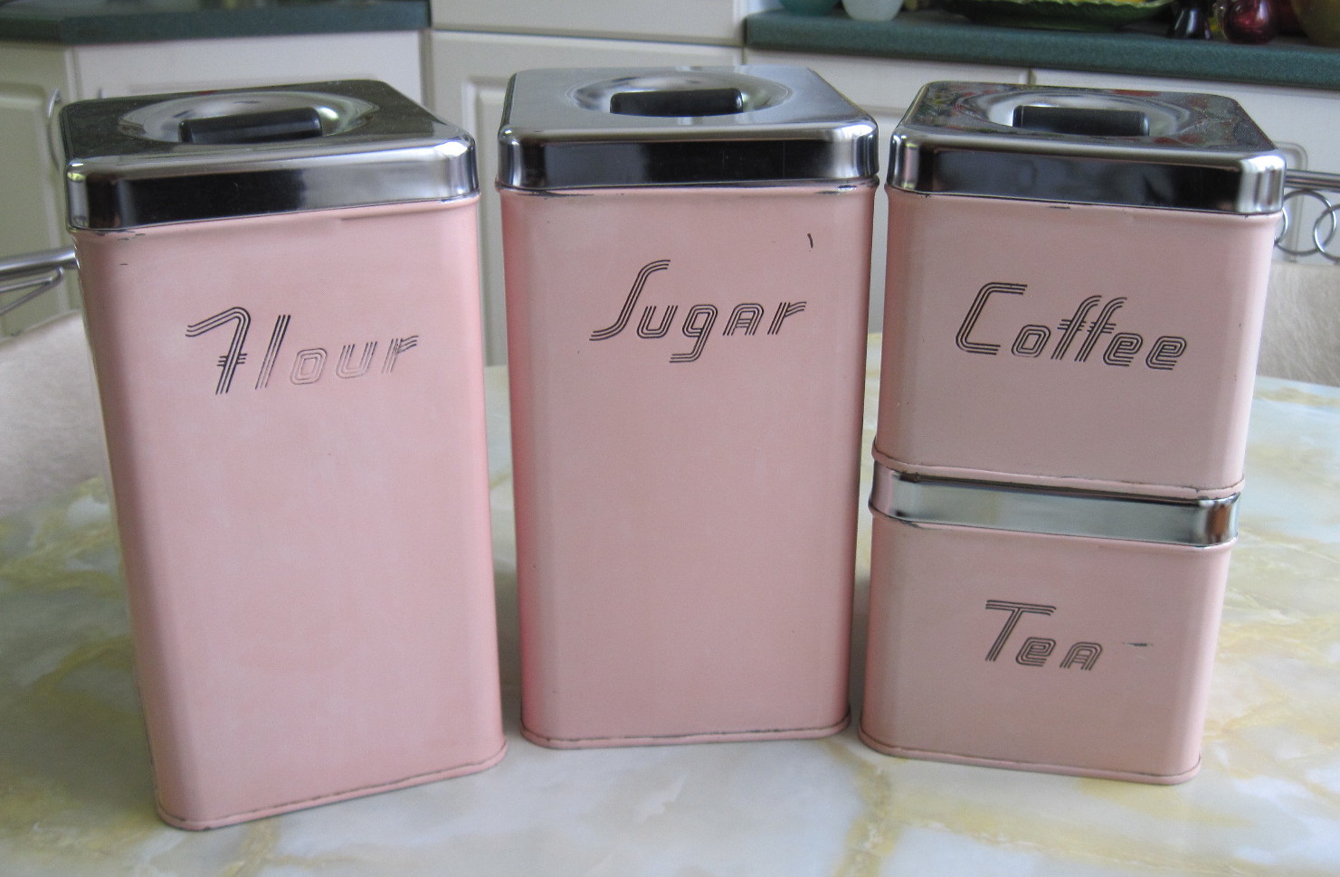 vintage kitchen decor fabfindsblog vintage pink kitchen metal canister set shabby chic