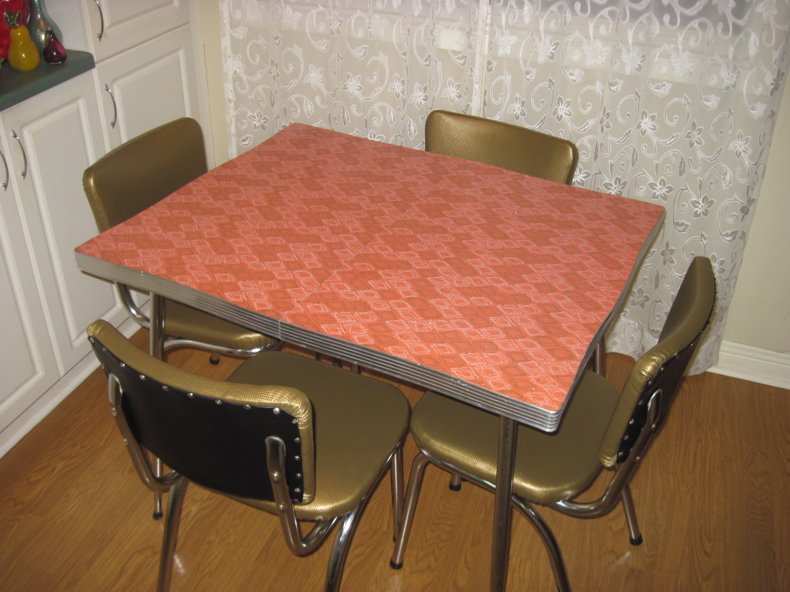 coral and gold 1950 s chrome table and chair set fabfindsblog
