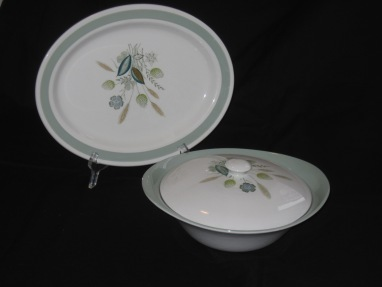 woods ware casserole and platter